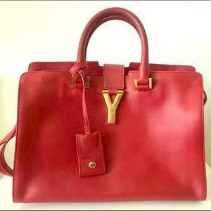 """YSL Classic Y Cabas Red Satchel Bag Small 12"""""""